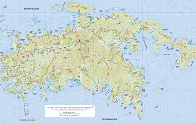 Trail Bandit Hiking Map of St John